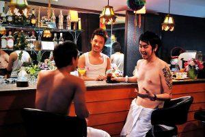 boys enjoy the bar at club one seven